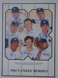 1963 New York Yankees Heroes Autographed Poster