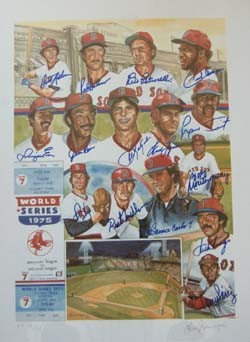 1975 Boston Red Sox Autographed Team Poster