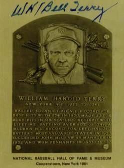 Bill Terry Autographed Metallic HOF Card