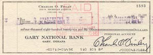 Charles Finley Signed Cancelled Personal Check