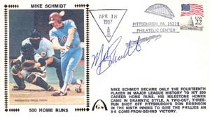 Mike Schmidt Autographed Gateway Cover of Hitting Home Run No. 500