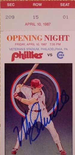Mike Schmidt Autographed 1987 Opening Day Game Phillies Ticket