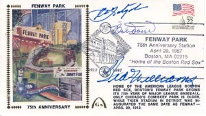 75th Anniversary Cachet of Fenway Autographed by Red Sox Hall of Famers
