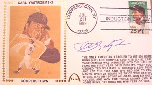 Carl Yastrzemski Autographed Gateway Cover Commemorating Yaz Induction into The Baseball Hall of Fame