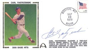 Carl Yastrzemski Autographed 3000th Hit Cachet