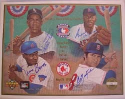 Autographed Upper Deck Photo Card salutes Four Greats of the Game