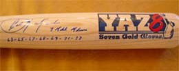 Carl Yastrzemski Autographed Limited Edition Yaz 7 Gold Glove Bat with all 7 years Inscribed