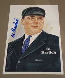 Al Barlick Autographed Perez-Steele Art Postcard