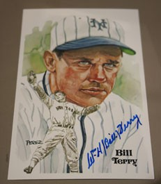 Bill Terry Autographed Perez-Steele Art Postcard