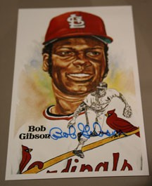 Bob Gibson Autographed Perez-Steele Art Postcard