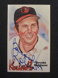 Brooks Robinson Autographed Perez-Steele Art Postcard
