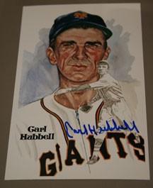 Carl Hubbell Autographed Perez-Steele Art Postcard