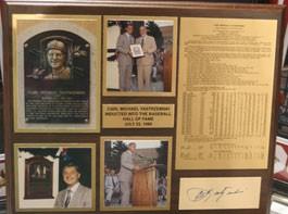 Carl Yastrzemski Autographed Wood Plaque with Career Stats