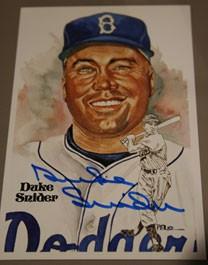 Duke Snider Autographed Perez-Steele Art Postcard