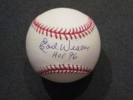 Earl Weaver Autographed Baseball with HOF 96 Inscription