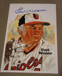 Earl Weaver Autographed Perez-Steele Art Postcard