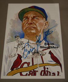 Enos Slaughter Autographed Perez-Steele Art Postcard