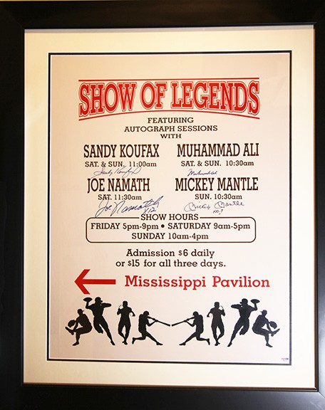 16\20 Framed Advertising Poster From appearance in Atlantic City, NJ. 1988 Signed by Muhammad Ali, Sandy Koufax, Joe Namath and Mickey Mantle