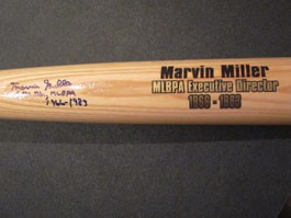 Marvin Miller Autographed Bat with Exec Dir MLBPA 1966-1983 Inscription