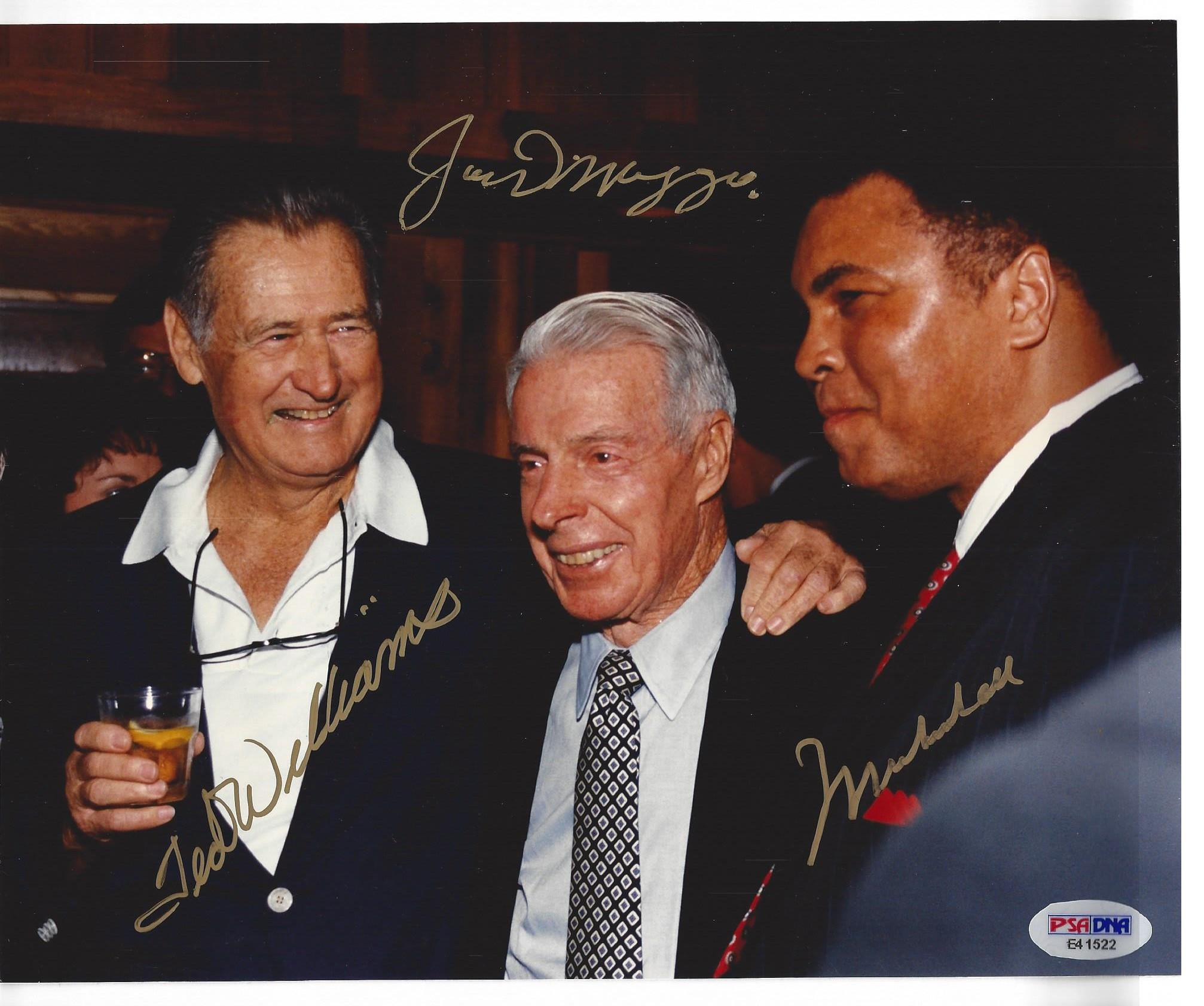 8x10 of three Legends, Joe DiMaggio, Ted Williams and Muhammad Ali signed by all three