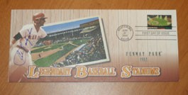 Carl Yastrzemski Autographed Photo File's First Day Cover Commemorating Baseball Stadiums