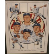 1961 New York Yankees Infield Autographed Poster