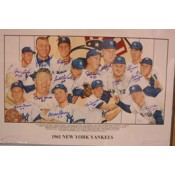 1961 New York Yankees Team Autographed Poster