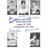 1984 Baseball Hall of Fame Class Killebrew, Aparicio, Reese, Drysdale, and Ferrell Autographed 8 x 10 Induction Card