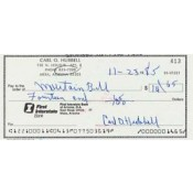 Carl Hubbell Signed Cancelled Personal Check