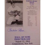 Pee Wee Reese Autographed Induction Card with Lifetime Stats