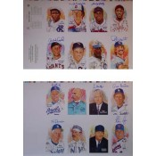 Two Autographed Perez-Steele Art Postcard 14th Series Uncut Sheets