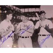 Ted Williams, Joe DiMaggio and Ralph Kiner Autographed Photo