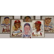 6 St. Louis Cardinals Hall of Famers Autographed Perez-Steele Art Postcard
