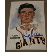 Carl Hubbell Autographed Perez-Steele Art Postcard