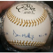 Gold Glove Baseball Autographed by Don Mattingly Inscribed 85-89 91-94