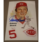 Johnny Bench Autographed Perez-Steele Art Postcard