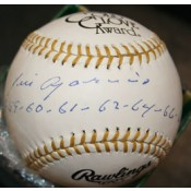 Gold Glove Baseball Autographed by Luis Aparicio with the 9 years he won the award Inscribed