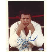 Signed 8x10 copy of Muhammad Ali in deep thought before an upcoming fight