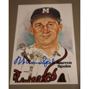 Warren Spahn Autographed Perez-Steele Art Postcard